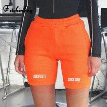 Fitshinling Letter Print Biker Shorts Women Autumn 2019 Athleisure Harajuku High Waist Short Feminino Slim Orange Bottoms Wear