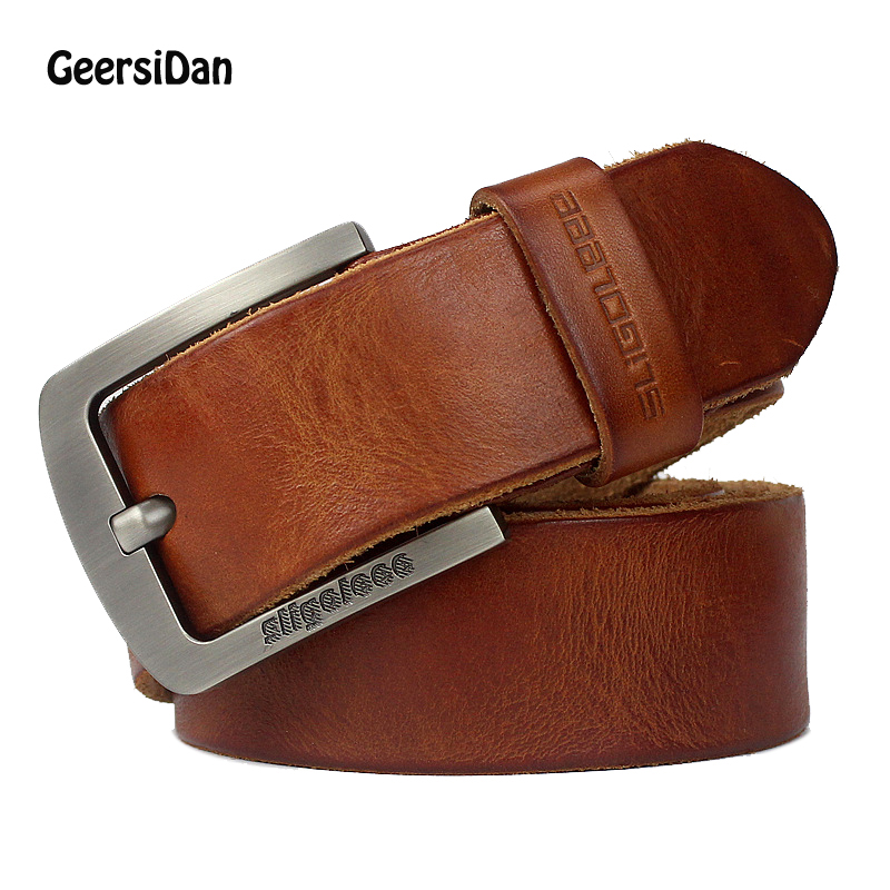 GEERSIDAN New luxury brand designer high quality genuine leather men belt vintage wide pin buckle belt