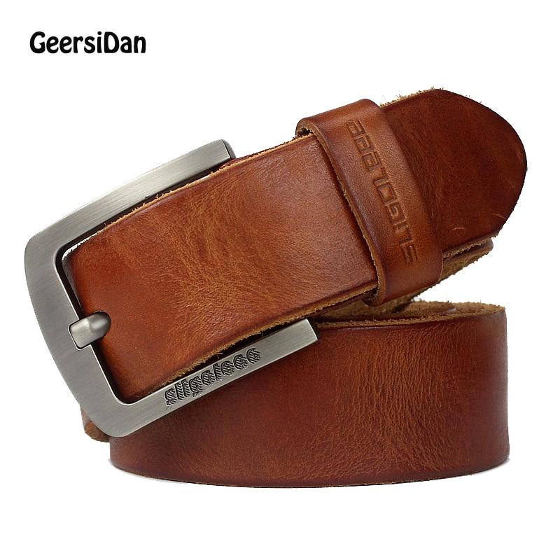 GEERSIDAN New luxury brand designer high quality genuine leather men belt vintage wide pin buckle belt for men male jeans strap