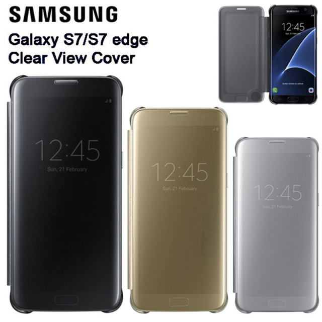 competitive price 393f1 ec226 US $26.89 |Samsung Original Mirror Clear View Smart Cover Phone Case EF  ZG930 For Samsung Galaxy S7 edge G9350 S7 G9300 Rouse Slim Flip-in Flip  Cases ...