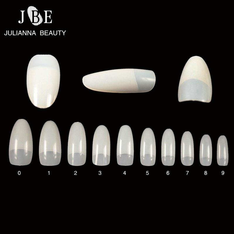 500Pcs/Lot False French Nail Art Tips For Salon Oval Fake Nail Tips Half Finger 10 Sizes Unhas UV Manicure Decorative Nep Nagels