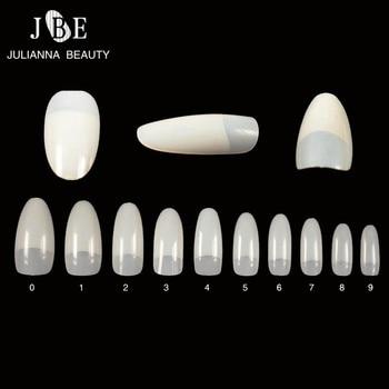 500Pcs/Lot False French Nail Art Tips For Salon Oval Fake Nail Tips Half Finger 10 Sizes Unhas UV Manicure Decorative Nep Nagels Маникюр