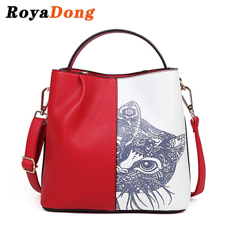 ФОТО RoyaDong Women Women Shoulder Bags 2016 New Fashion Cat Printing Pu Leather Handbags Patchwork Fashion Tote Bag