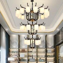 Willa Duplex duży żyrandol oświetlenie trzy warstwy europejski styl żelaza czarny żyrandol nowoczesny żyrandol Retro restauracja światła