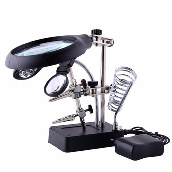 Spawanie lupa 5 LED Light pomocniczy klip lupa lupa 3 In1 ręczny lutownica stojak uchwyt stacji tanie i dobre opinie Yarboly Stojący Styl loupe Magnifier Glass