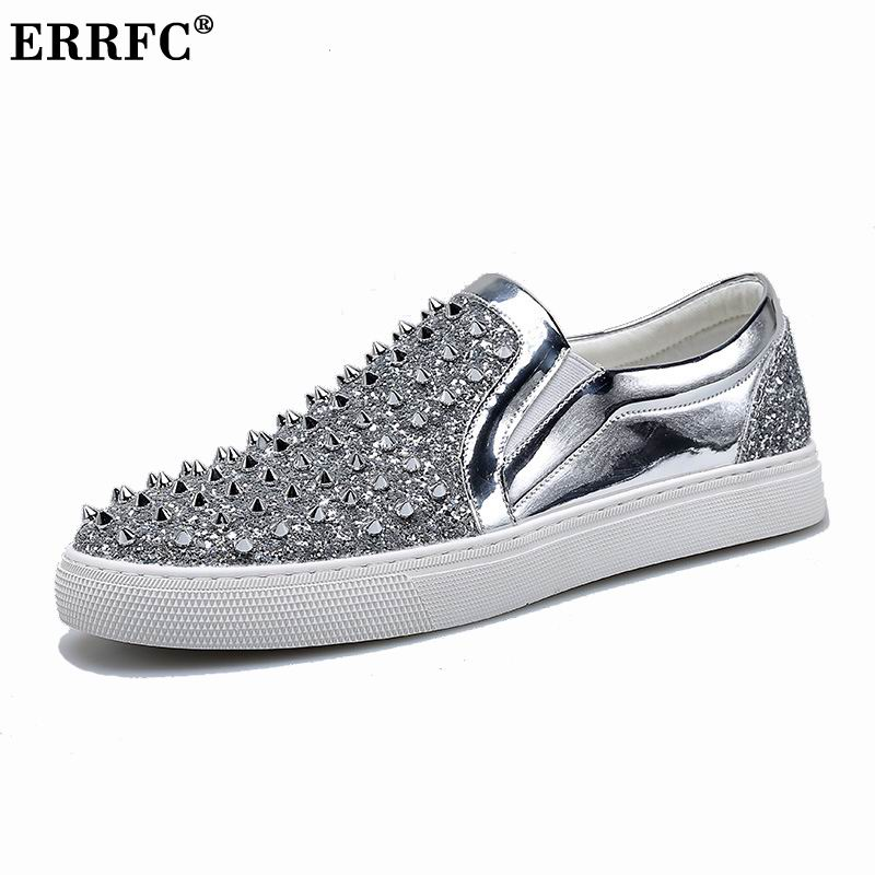 ERRFC New Arrival Men Casual Comfort Shoes Silver Fashion Rivets Round Toe  Glitter Bling Slip On Loafer Shoes Flat With Black 44-in Men s Casual Shoes  from ... 5af6c873b894