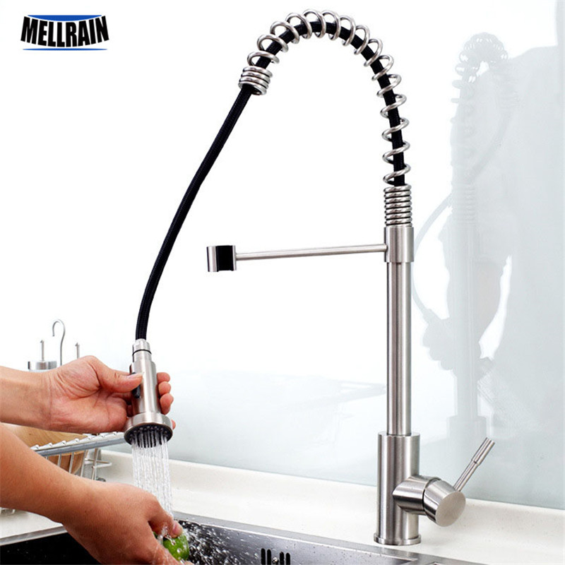 Quality stainless steel pull down kitchen mixer hand brushed kitchen faucet pull out & rotation single handle water tapQuality stainless steel pull down kitchen mixer hand brushed kitchen faucet pull out & rotation single handle water tap
