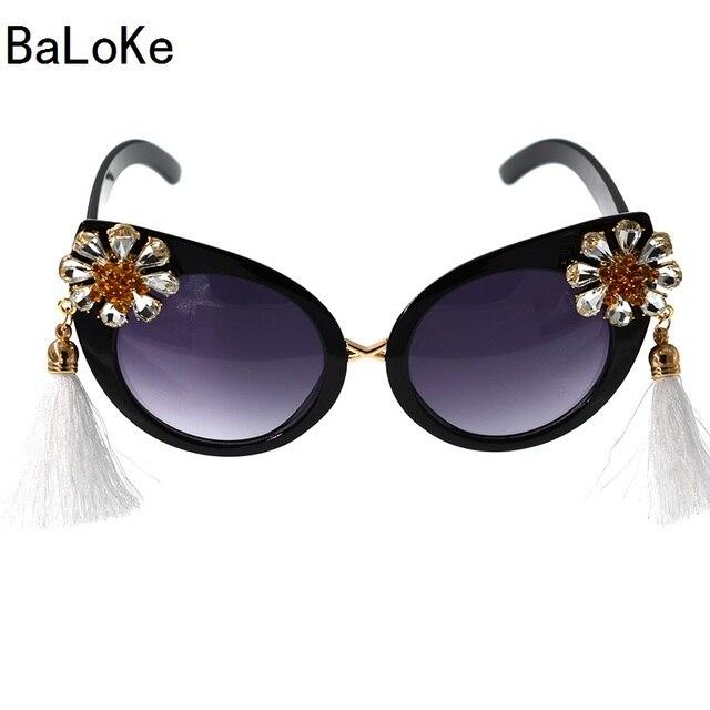 2019 New Arrival Fashion Baroque Retro Women Girl Crystals Cat eye Sunglasses Retro Tassel Sunglasses Summer Beach Glasses