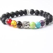 Lingxiang Big Beads 7 Chakra Bracelet Yoga Healing Balance Supernatural Lava Reiki Stones Women Jewelry