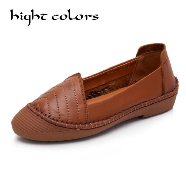 c2b5ef83da9 2018 Spring New Mother Grandma Shoes Solid Slip On Genuine Leather Soft  Bottom Flat Shoes Women Loafers Chaussure Femme