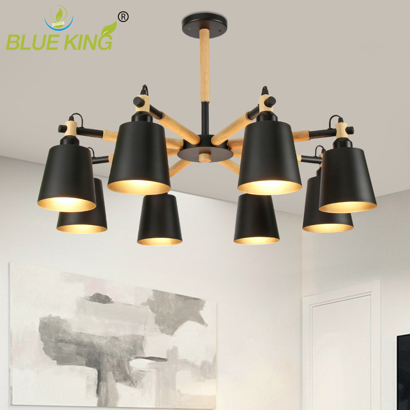 modern LED oak wood chandelier lamp for living room white black ceiling chandeliers lighting fixture 3/6/8 heads