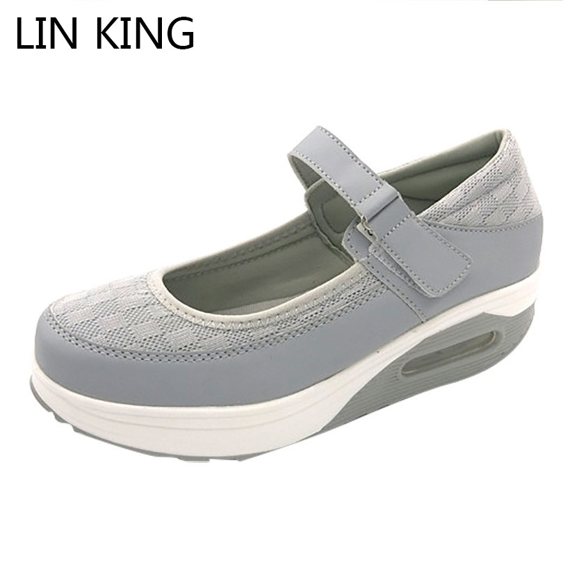 LIN KING Breathable Women Swing Shoes Height Increase Platform Shoes Comfortable Wedegs Nurse Shoes Elevator Shoes For Female