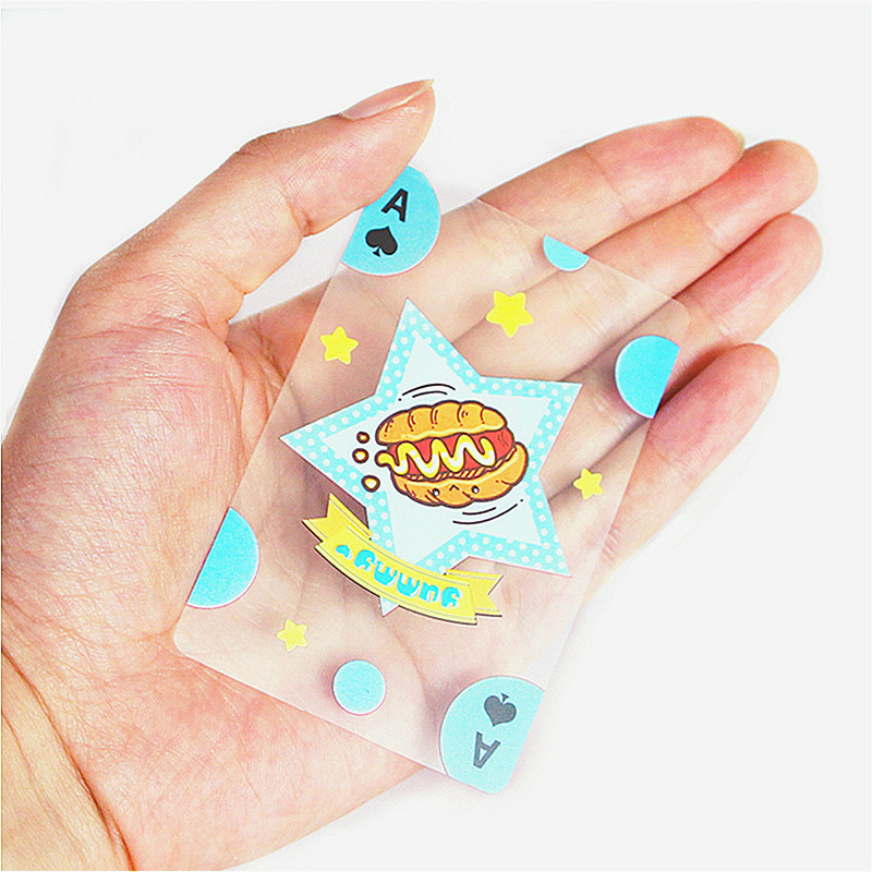 54 PCS Waterproof Playing Cards Transparent Cartoon Food Recognition Fun Poker Card Board Game PVC Poker Party Family Gaming