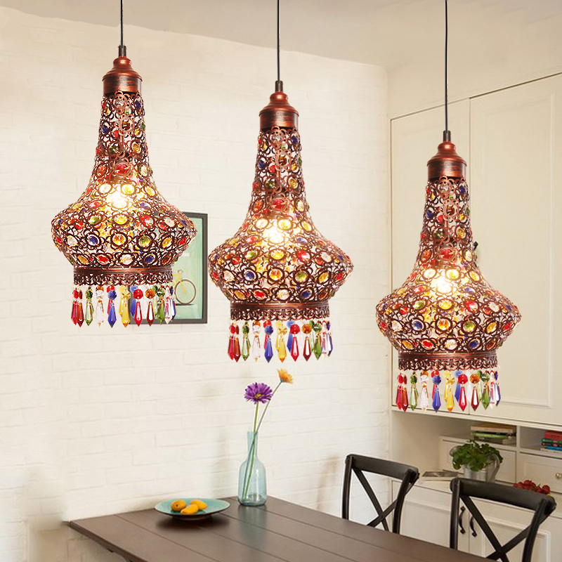Classic Bohemia Style Restro Pendant Light Iron Carving Lampshade K9 Colors Crystal Decoration 3*E27 LED Bulbs Round Lampbase браслеты bohemia style браслет