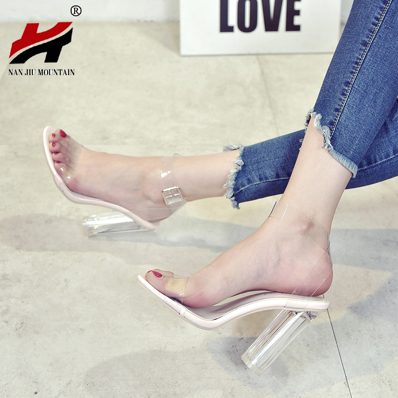 New Fashion Jelly Sandals Open Toe High Heels Women Transparent Perspex Slippers Thick Heel Clear цены онлайн