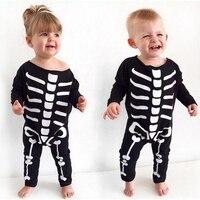 Halloween Ubrania Dla Dzieci Body & One-Pieces Chłopiec Dziewczyna Kości Długie Rękawy Zużycie Halloween Dla Dzieci Odzież dziecięca