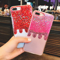 Bling 3D Gradient Color Ice Cream Glitter Soft Tpu Phone Case For Iphone 7 7Plus 6
