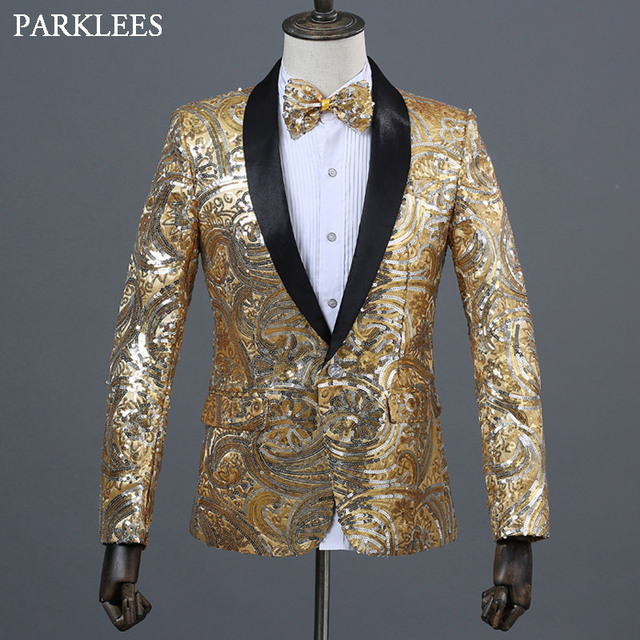 63dfdcad0a4d8f Paisley Floral Sequins Blazer Men Shawl Collar Shiny Glitter Mens Gold  Suits Stage Blazers Singer Costumers Party Jackets Hombre