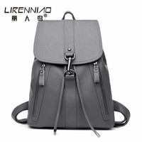 Fashion Famous Brand String Women Leather Backpack Girl School Bags Female Shoulder Bag Large Capacity Backpacks