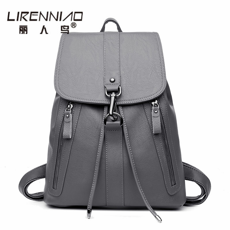 Fashion Famous Brand String Women Leather Backpack Girl School Bags Female Shoulder Bag Large Capacity Backpacks Mochila Bagpack