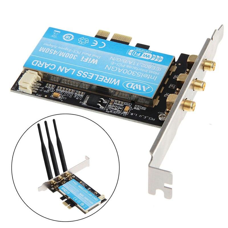 2018 High Quality PCI-E 2.4G+5G Dual Band Wifi 300 PCI-E Wlan Card Computer Network Card LAN wifi Wireless Adapter With Antenna