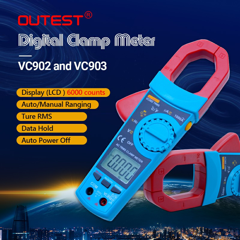 OUTEST True RMS AC/DC digital clamp meter auto range ac dc voltage current resistance capacitance duty cycle 1%~99% 1200A bside acm02 plus 600a ac current digital clamp meter with ac dc voltage resistance capacitance frequency temperature duty cycle