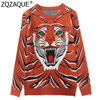 New Brand Designer European Style Women Knit Pullovers Tiger Jacquard Loose Sweaters Good Quality Female Woollen