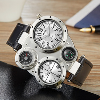 Brand Fashion Oulm Sports Military Multi Function Watch For Men Black Brown Round Dial Dual Movt