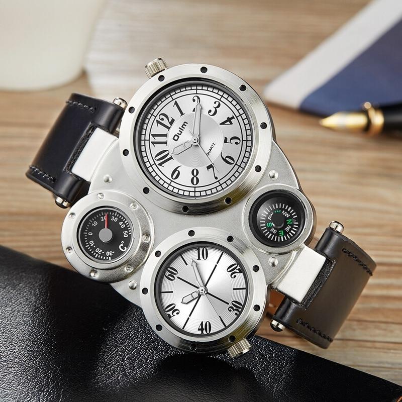 Oulm Casual Leather Sports Watches Men Luxury Brand Unique Designer Military Watch Male Quartz Wrist Watch erkek kol saati