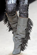 2016 Winter Women Model Style Suede Grey Knee High Fringe Boots Height Increasing Tassel Shoes Fashion Women Wedge Booties