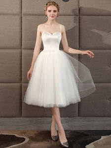 Wedding-Dress Tulle Sweetheart Beach Simple Short A-Line Bare-Back