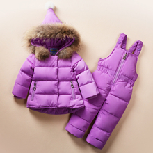hot deal buy girls clothing sets winter snow wear boys girls clothes sets fashion kids 2pcs down jacket +rompers outerwear suit genuine fur