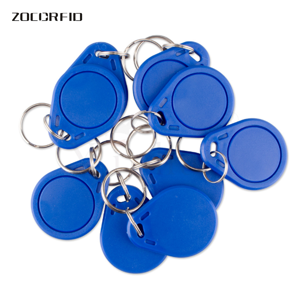 100pcs(Compatible With S50) RFID 13.56 Mhz IC Tag Token Key Ring IC Cards Blue China Fudan FM1108 Chips