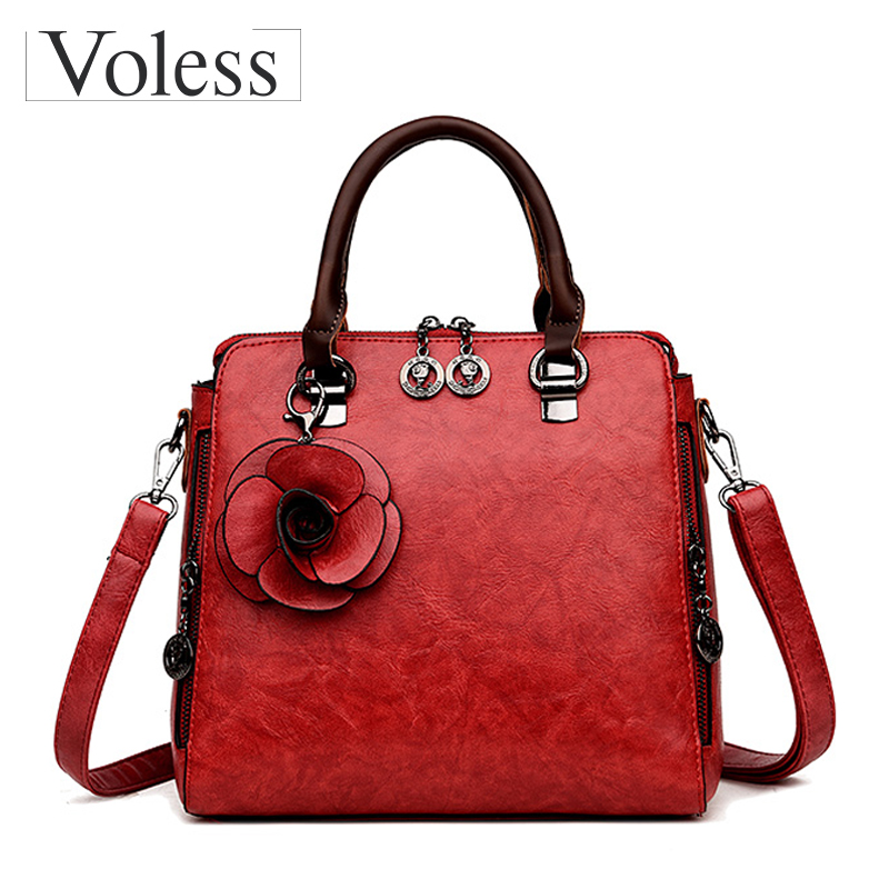Fashion Flower Shoulder Bags Women Pu Leather Handbags For Women Messenger Bag Female Casual Tote Bag Bolsa Feminina Sac A Mian 2018 women 3pcs set handbags pu leather shoulder bags tassel handle designer composite messenger bag casual tote bag ll408