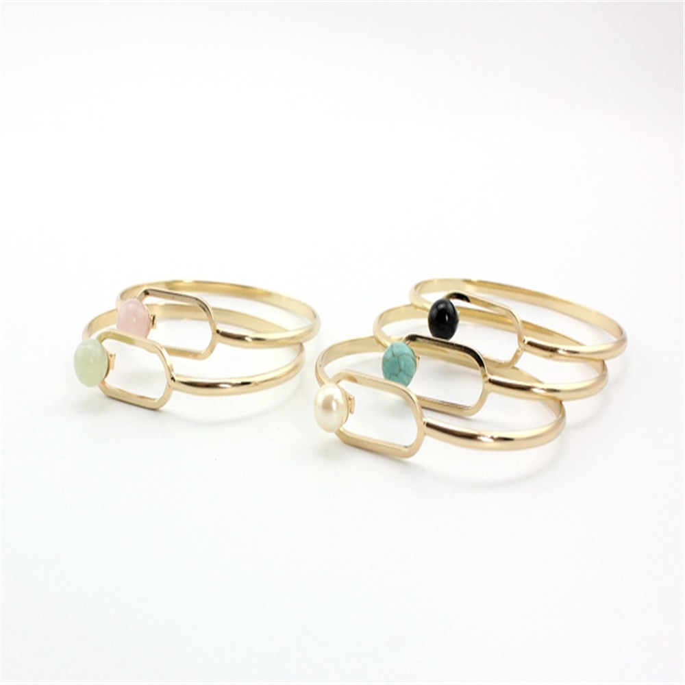 XQ Free shipping The new fashion Natural stone pearl inlaid copper <font><b>ring</b></font> can be open personality <font><b>bracelet</b></font> image