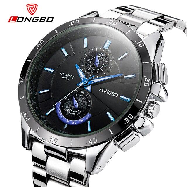7d82cba2c1a Longbo marca de luxo completa aço relógios top relógio vestido de quartzo homens  de negócios à