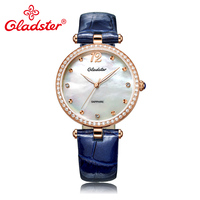 Gladster Luxury Japanese MIYOTA 2035 Lady Analog Watch Pearl Dial Leather Female Wrist Watch Fashion Diamond Women Quartz Clock