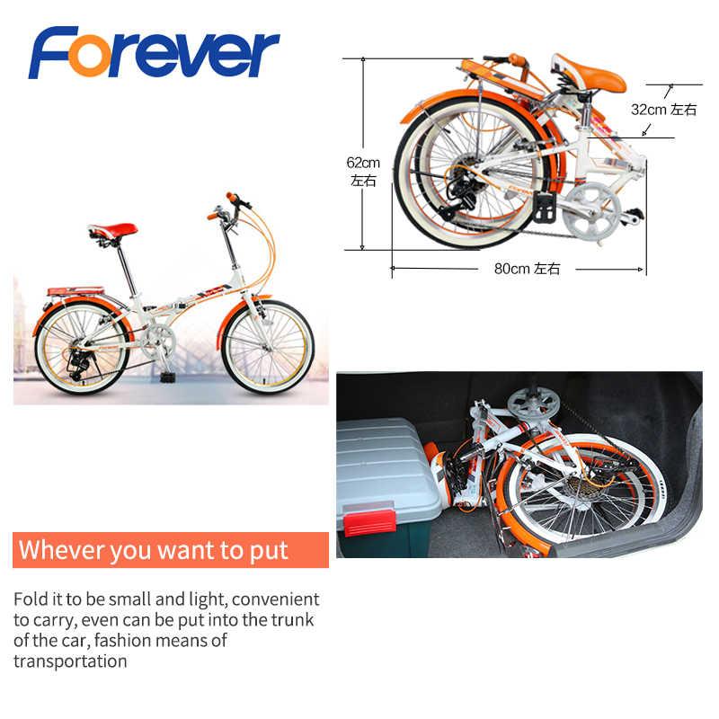 FOREVER складной велосипед 20*1,75 Fat Tire, двойной V тормоз, рама из Сплава Al, городские велосипеды для мужчин и женщин, 7 скоростей, 20 дюймов, студенческие циклы
