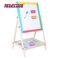TELECOOL Drewniane dwustronne Magnetyczne Deski Kreślarskiej Pisanie Pokładzie Sztalugi Szkicownik Fantastyczne Blackborad Dzieciak Zabawki Edukacyjne