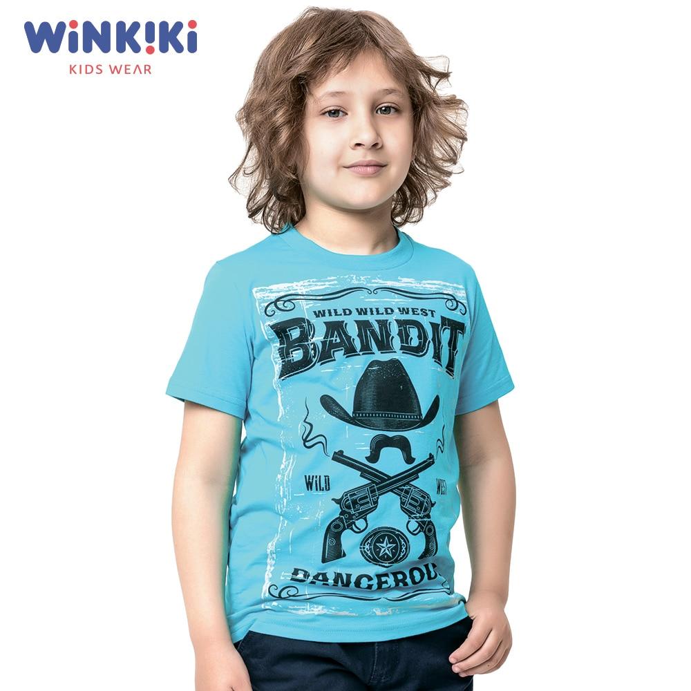 T-Shirts Winkiki WJB91388 T-shirt kids children clothing Cotton Sky Blue Boys Casual цена