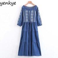 Women Sexy Off Shoulder Vintage Blue Denim Dresses Casual Long Sleeve Drawstring Waist Embroidered Dress Lady