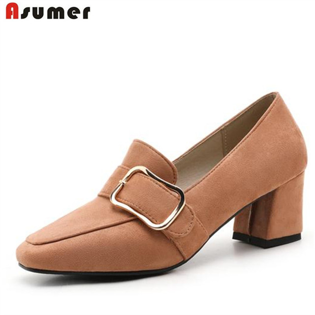 ASUMER Large size 32-46 shoes women med heels buckle party work shoes neutral fashion flcok single shoes pumps square toe