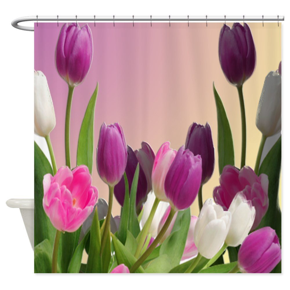 Large Purple And White Tulips - Decorative Fabric Shower Curtain (69x70)