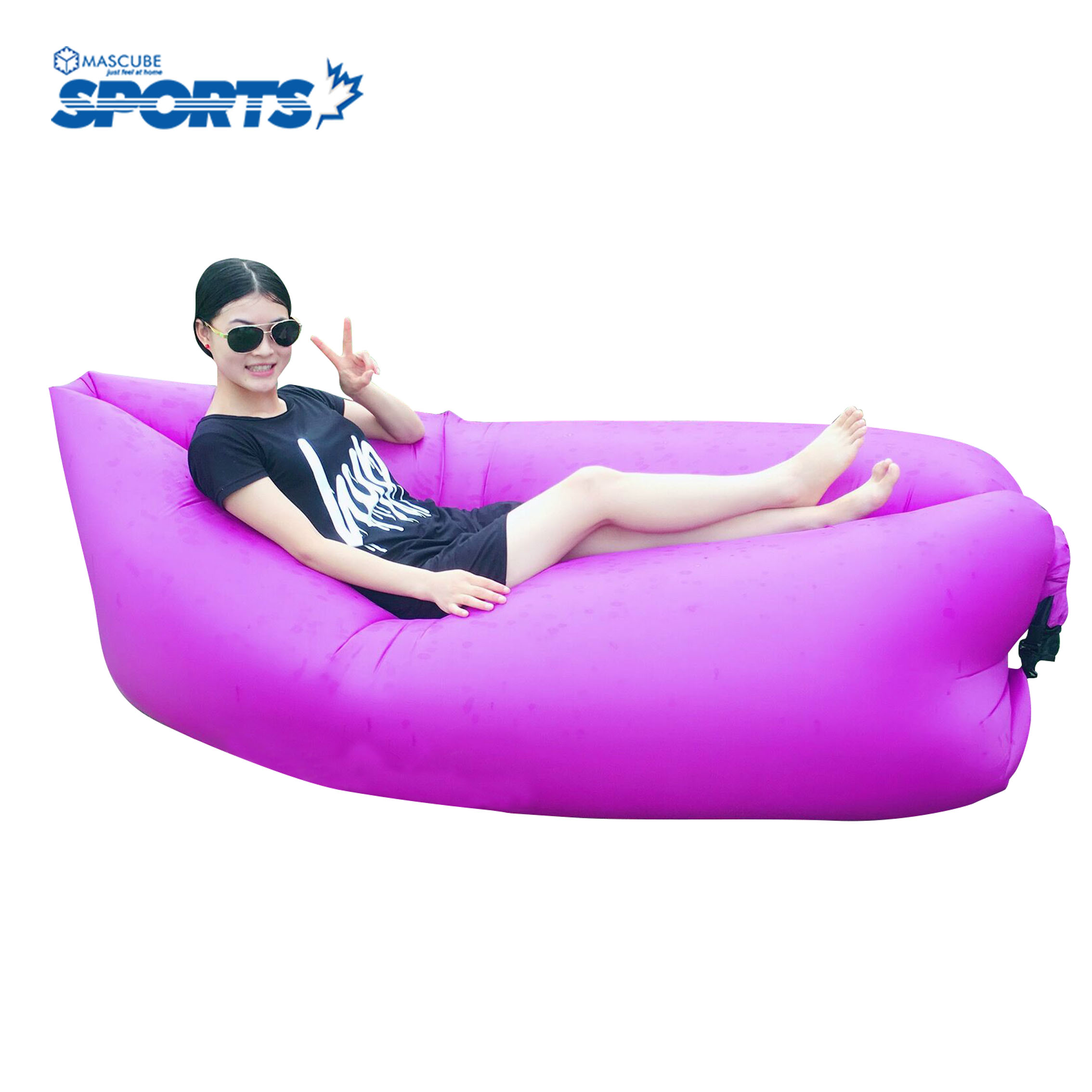 Portable folding bed in a bag - Outdoor Portable Beach Lazy Fold Fast Inflatable Sofa Bed Air Sofa Sleeping Camping Lounge Bag Mat