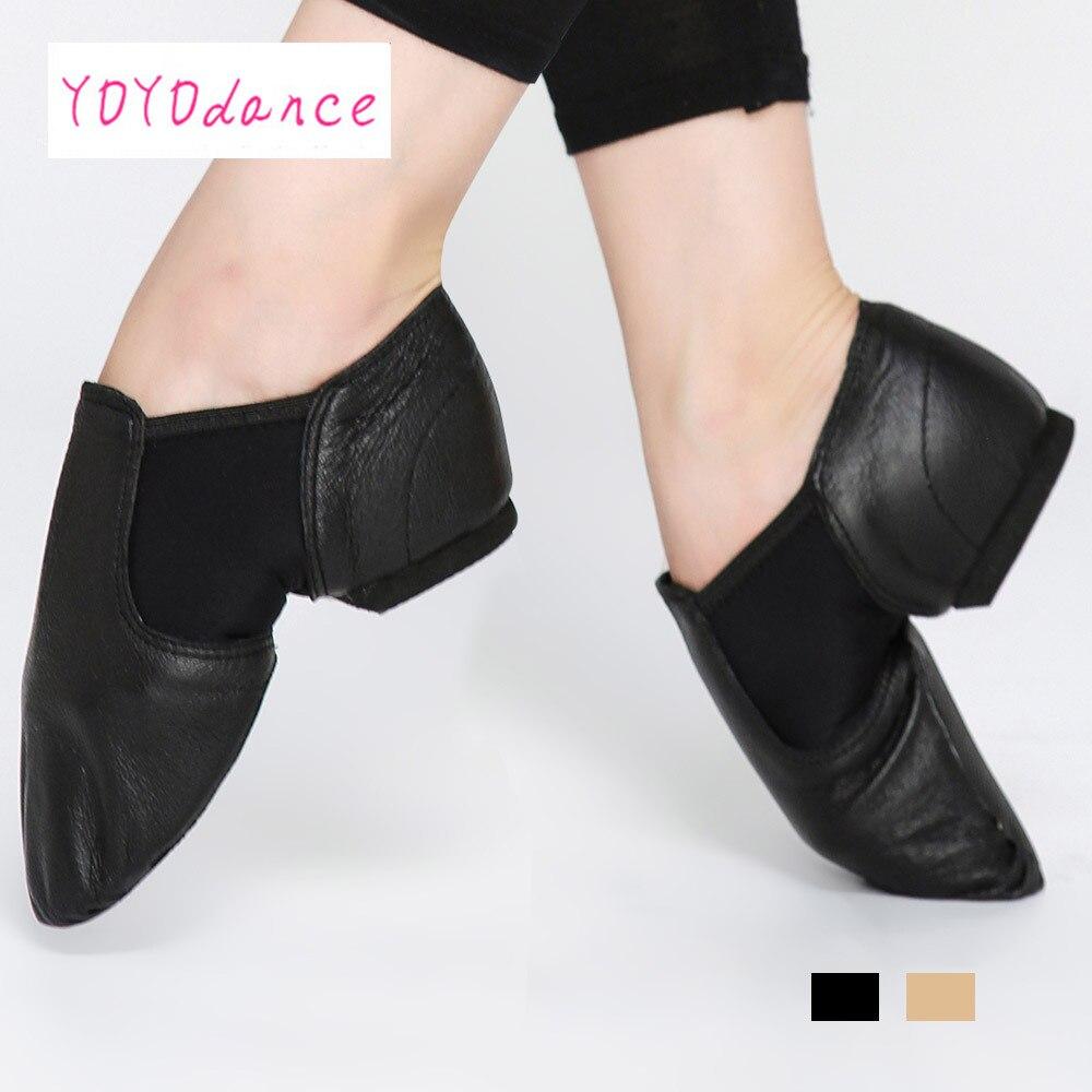 Cupones mujeres Jazz Slip on Sneakers zapatos de baile de cuero genuino para hombres adultos niños niñas Blacksports botas Jazz Dance zapatos