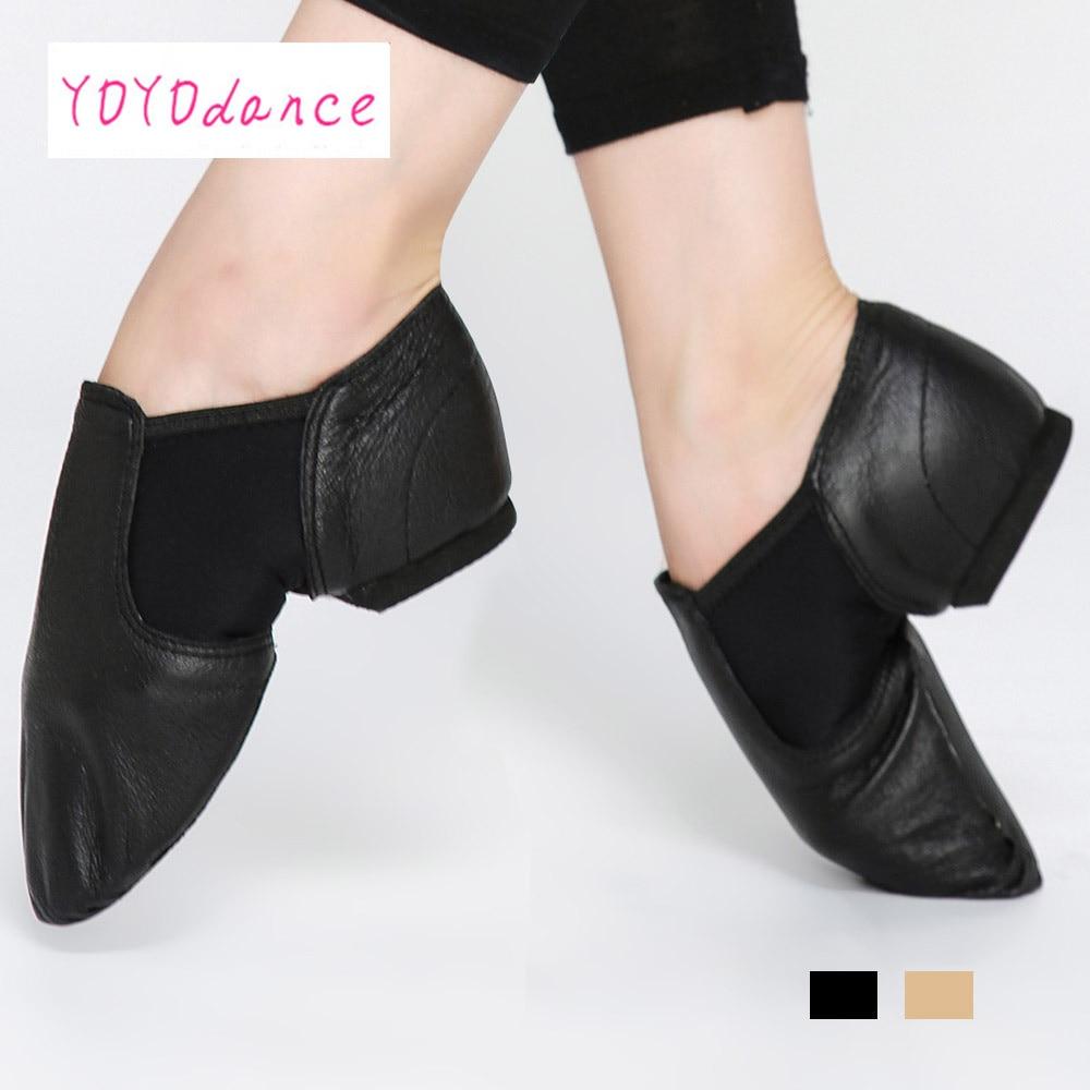Tagliandi di jazz delle donne slip on scarpe da ballo ballo del cuoio genuino scarpe per gli uomini adulti ragazze dei capretti Nero tan stivali sportivi 4716