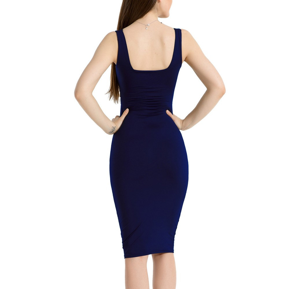 Casual women dress summer 2018 Sexy Ladies Square Collar Sleeveless Tight  Party Dresses in Navy and White HIgh Quality -in Dresses from Women s  Clothing on ... dae7eb47b71e