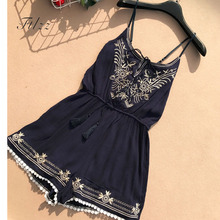 New Women Playsuits 2018 Summer Vintage Embroidery O-neck Spaghetti Shorts Jumpsuit