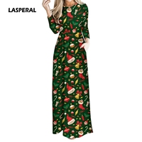 LASPERAL 2017 Women Autumn Winter Long Maxi Dress Christmas Holiday Party Dressses Pockets High Waist Elegant