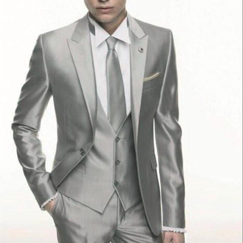 Srebrny szary ślubne satynowe mężczyzn garnitur 2017 formalne obcisłe stylowe męskie Blazer Party na zamówienie smokingu 3 sztuka Vestidos męskie garnitury w Garnitury od Odzież męska na  Grupa 1